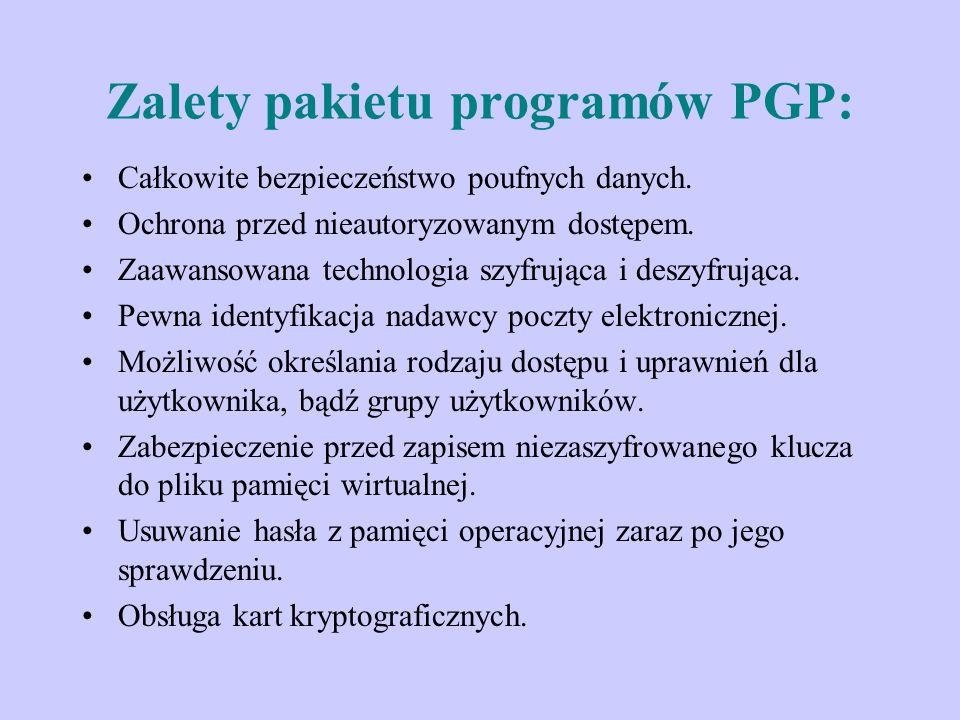 Zalety pakietu programów PGP: