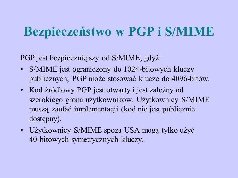 Bezpieczeństwo w PGP i S/MIME