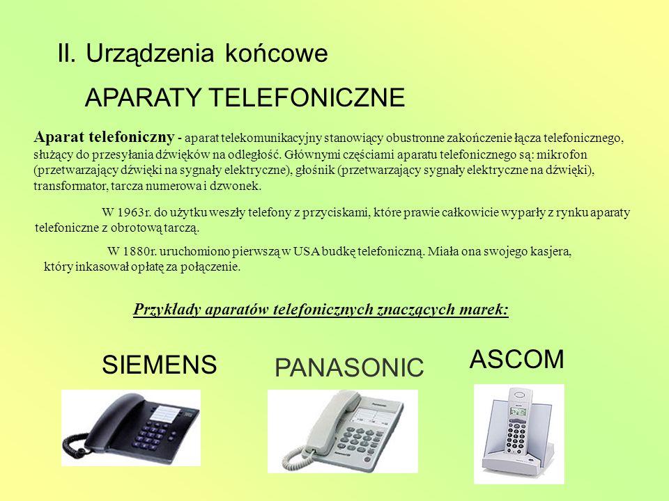 Przykłady aparatów telefonicznych znaczących marek: