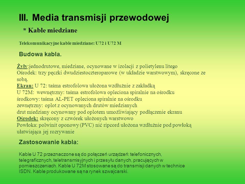 III. Media transmisji przewodowej