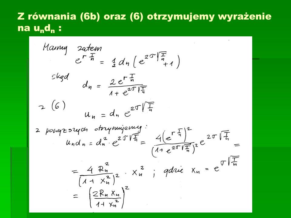 Z równania (6b) oraz (6) otrzymujemy wyrażenie na undn :