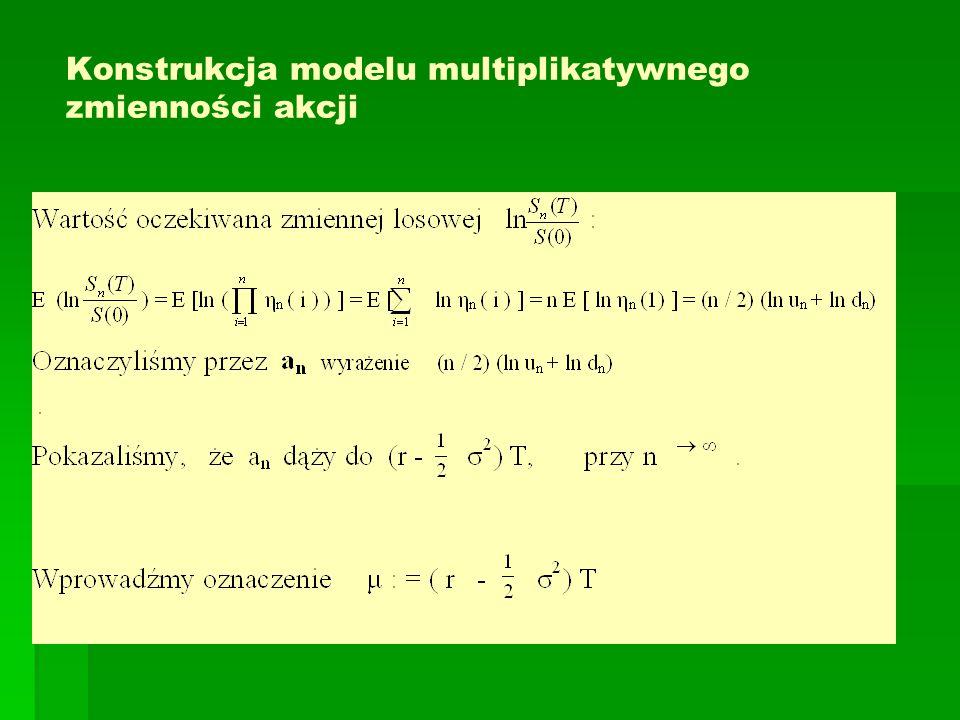 Konstrukcja modelu multiplikatywnego zmienności akcji