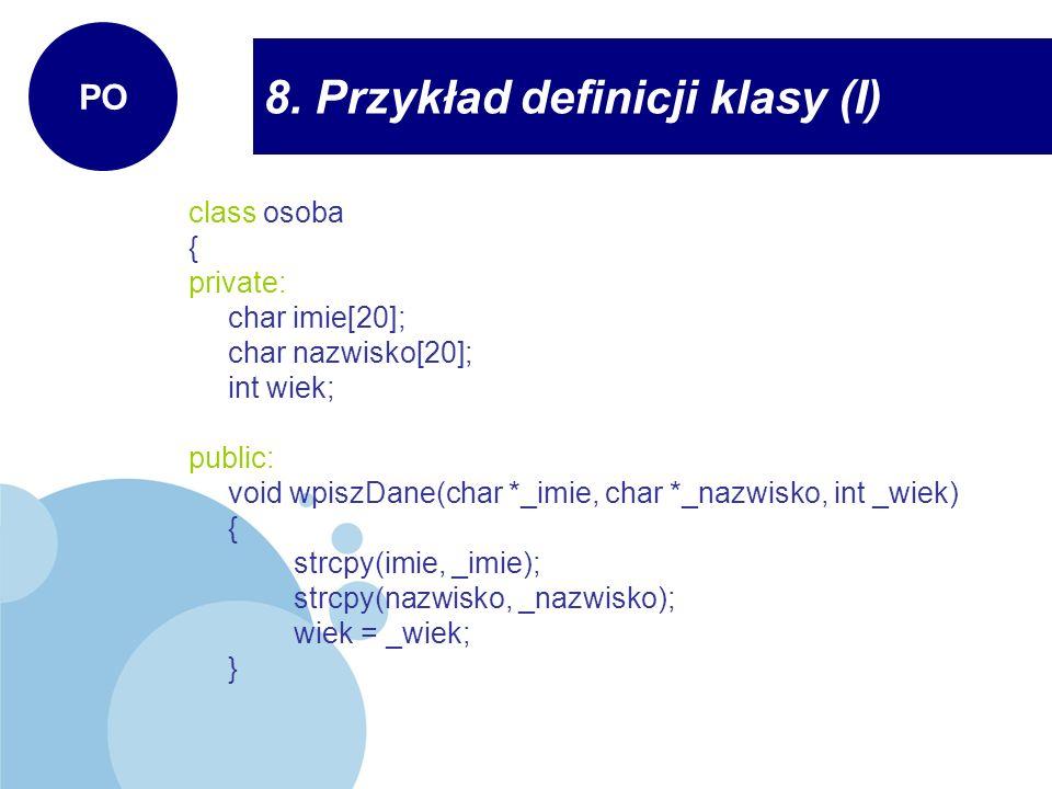 8. Przykład definicji klasy (I)