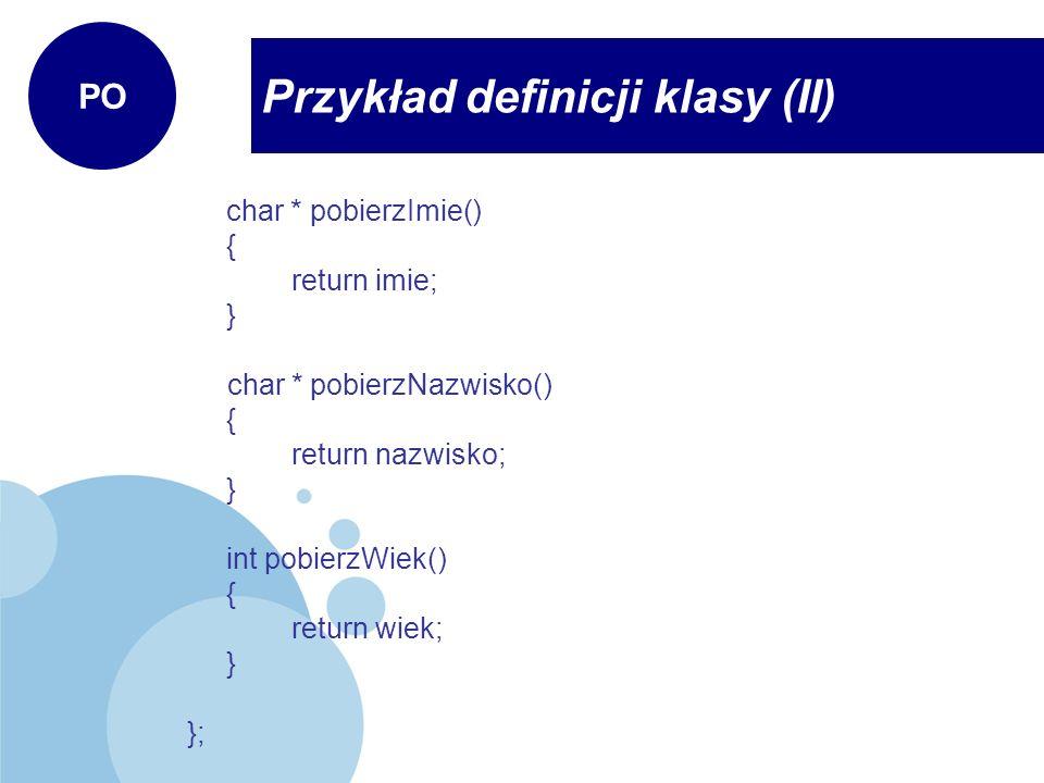 Przykład definicji klasy (II)