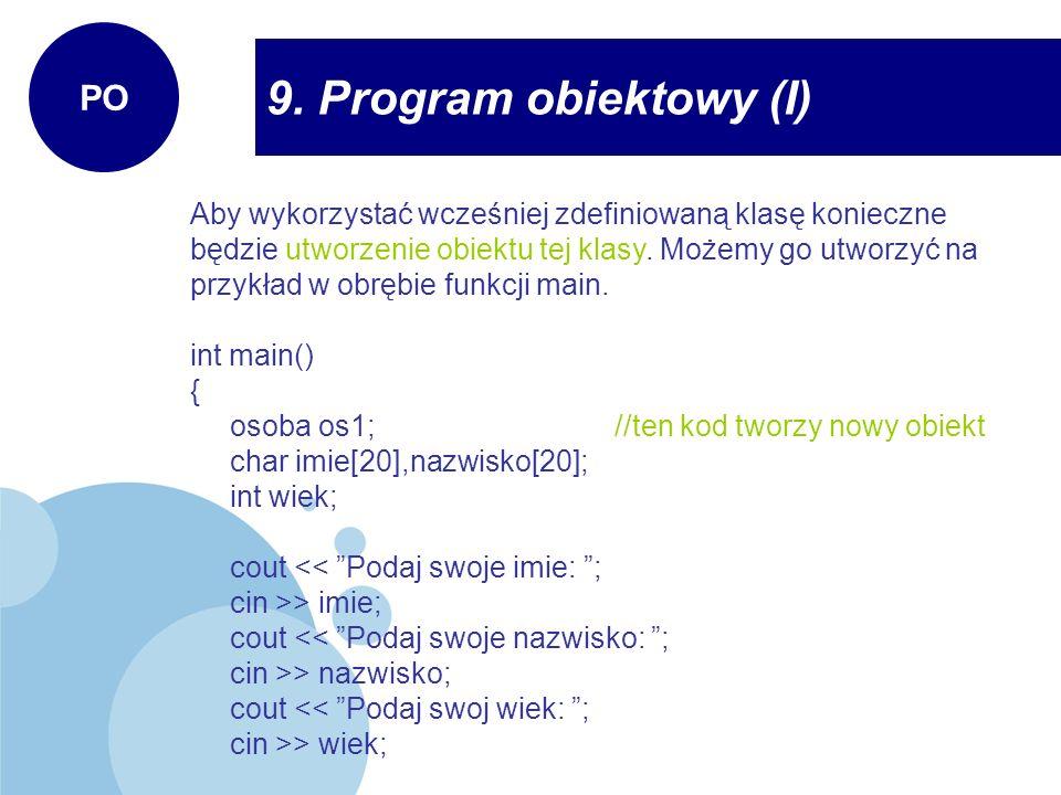 9. Program obiektowy (I) PO