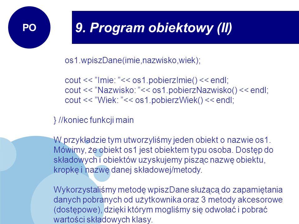 9. Program obiektowy (II)