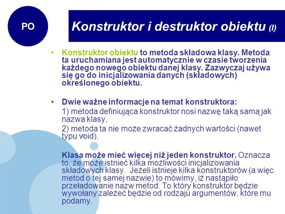 Konstruktor i destruktor obiektu (I)