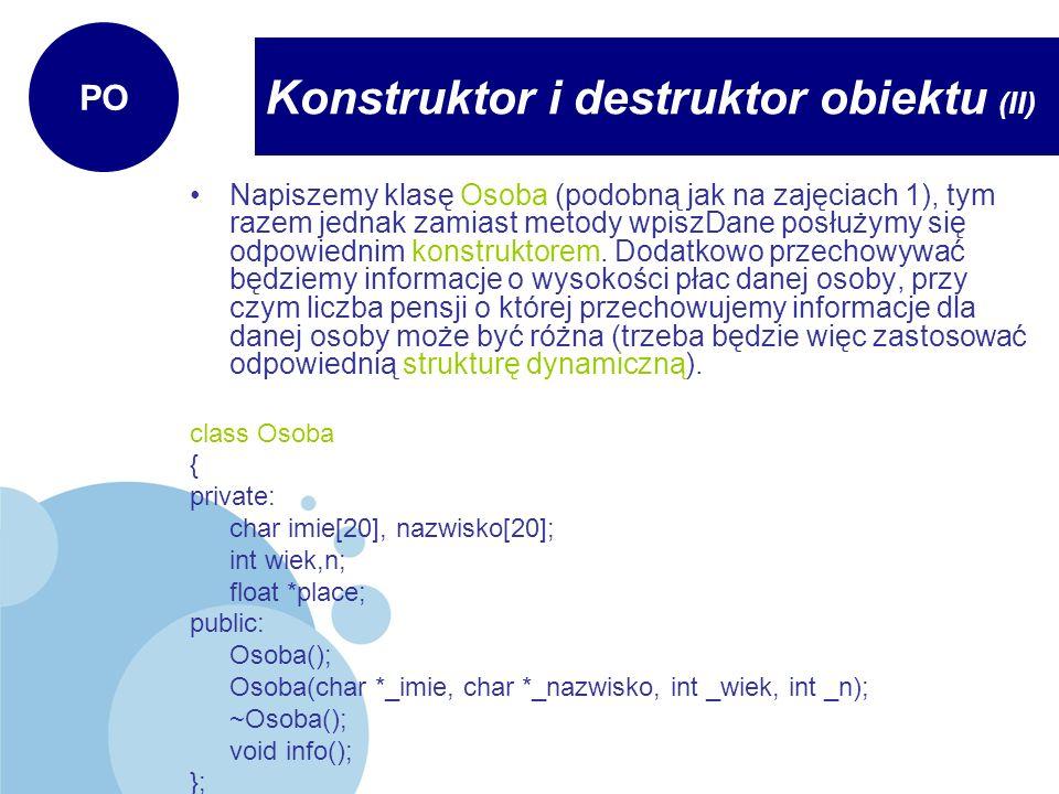Konstruktor i destruktor obiektu (II)