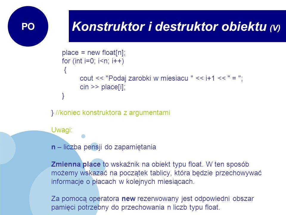 Konstruktor i destruktor obiektu (V)