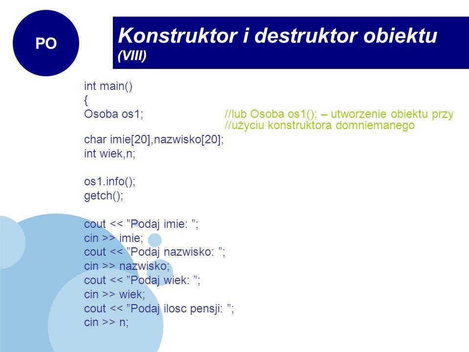 Konstruktor i destruktor obiektu (VIII)