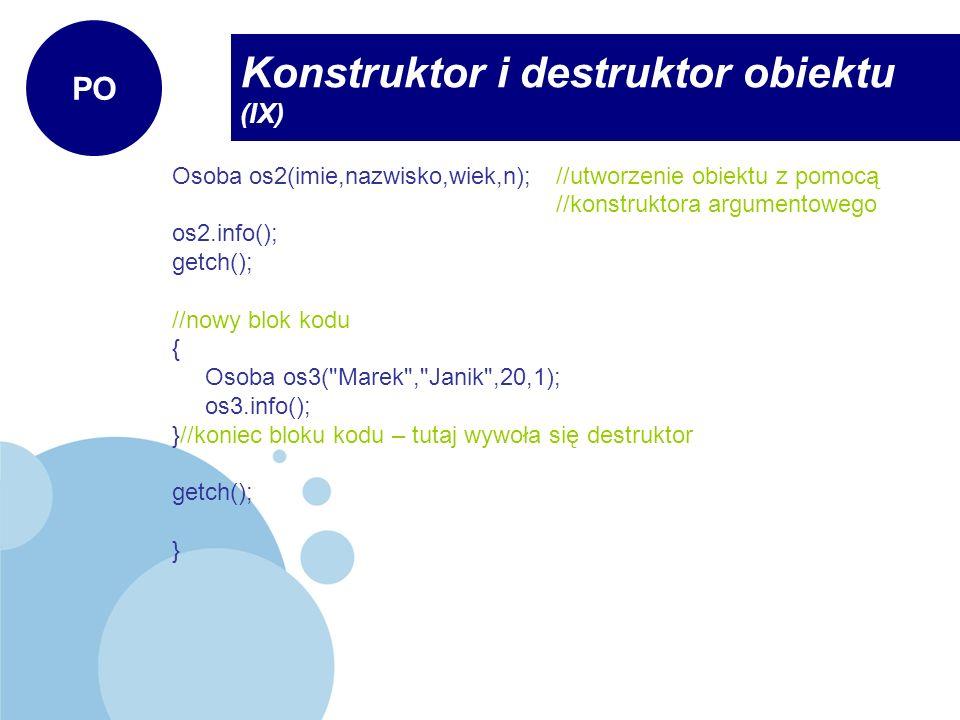 Konstruktor i destruktor obiektu (IX)