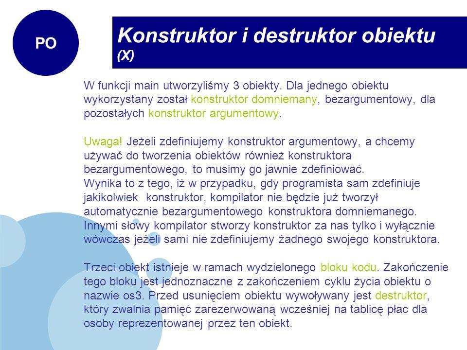 Konstruktor i destruktor obiektu (X)