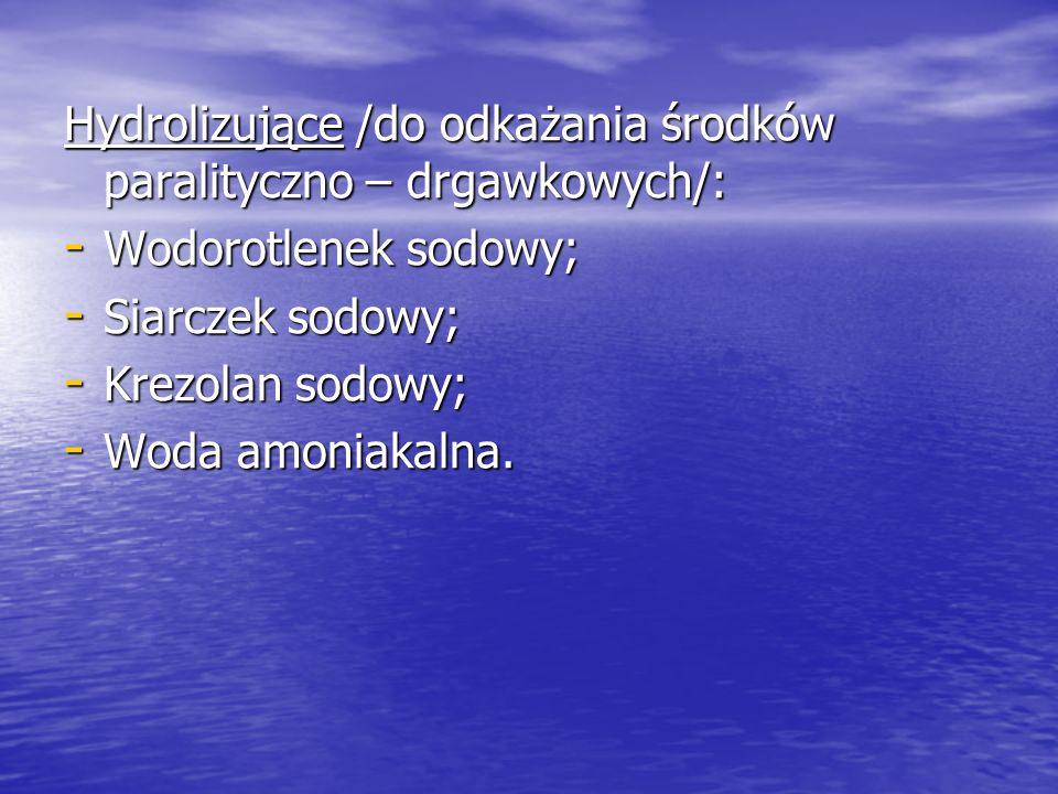 Hydrolizujące /do odkażania środków paralityczno – drgawkowych/: