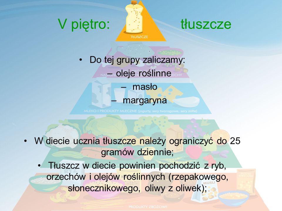 V piętro: tłuszcze Do tej grupy zaliczamy: oleje roślinne masło