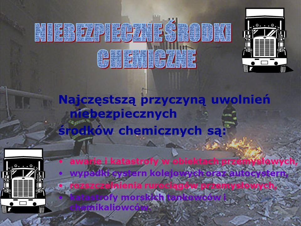 Najczęstszą przyczyną uwolnień niebezpiecznych środków chemicznych są: