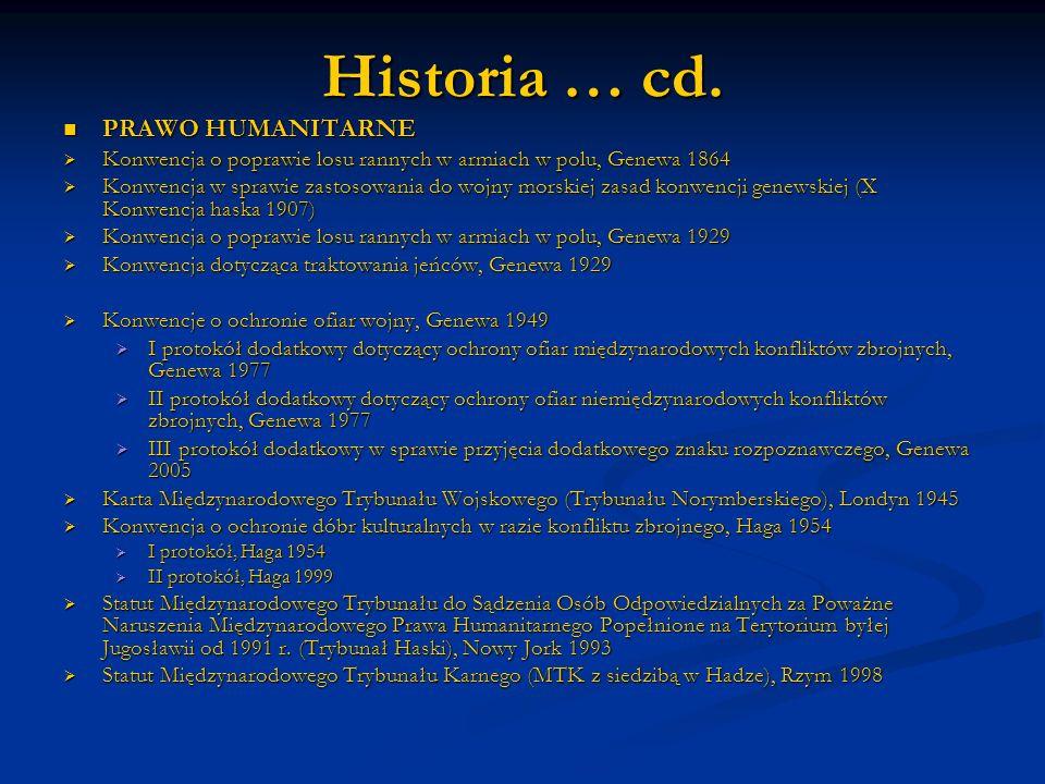 Historia … cd. PRAWO HUMANITARNE