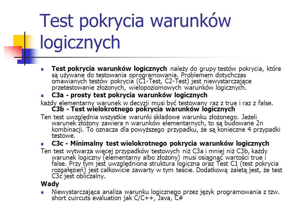 Test pokrycia warunków logicznych