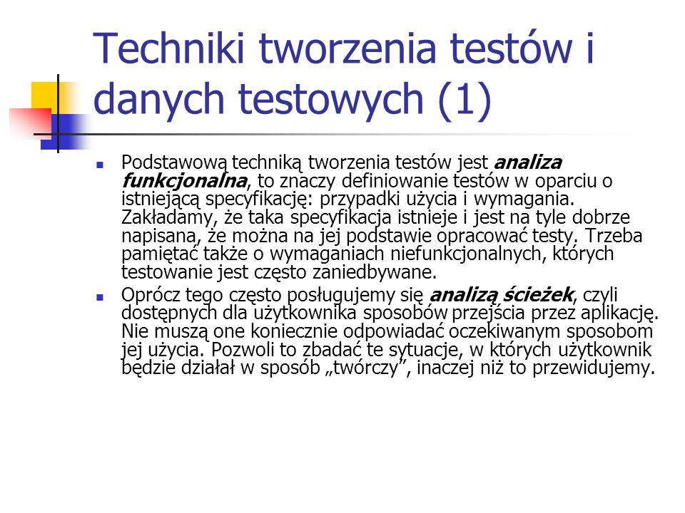 Techniki tworzenia testów i danych testowych (1)