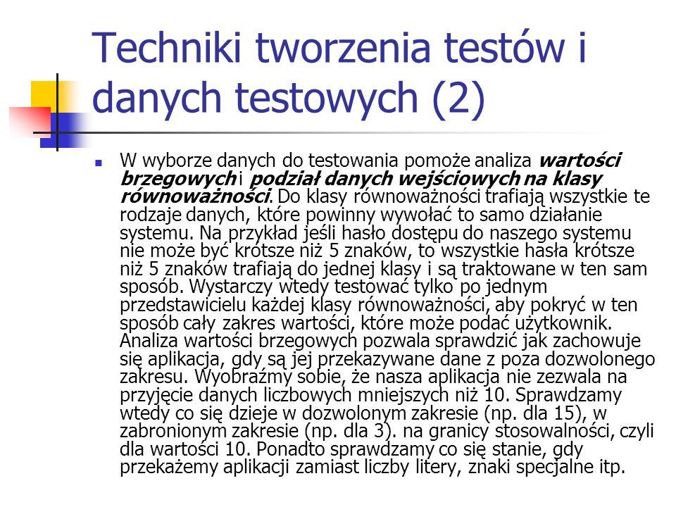 Techniki tworzenia testów i danych testowych (2)