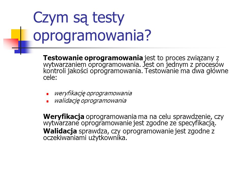Czym są testy oprogramowania