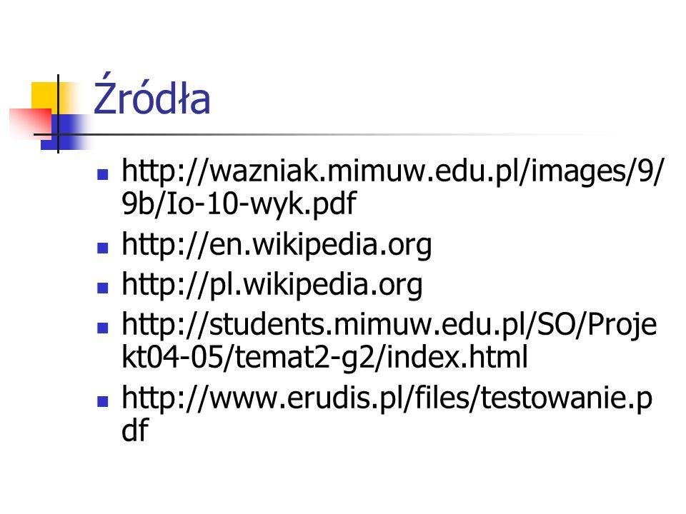 Źródła http://wazniak.mimuw.edu.pl/images/9/9b/Io-10-wyk.pdf