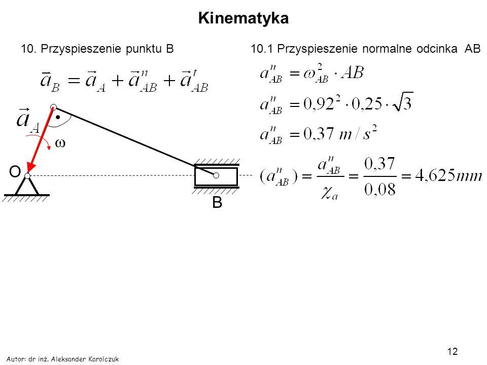 Kinematyka w O B 10. Przyspieszenie punktu B