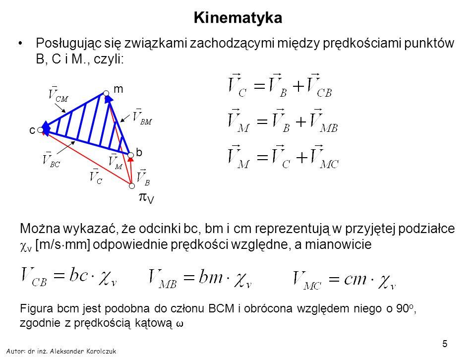 Kinematyka Posługując się związkami zachodzącymi między prędkościami punktów B, C i M., czyli: m. c.
