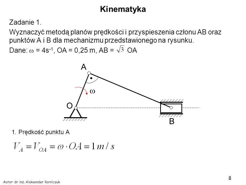 Kinematyka A w O B Zadanie 1.