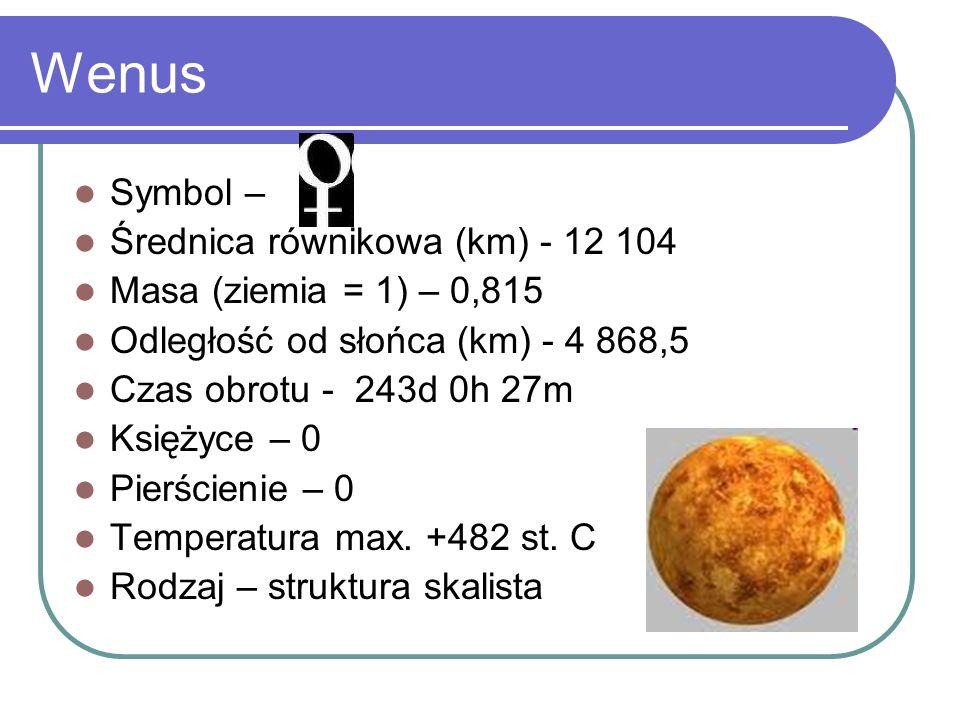 Wenus Symbol – Średnica równikowa (km) - 12 104