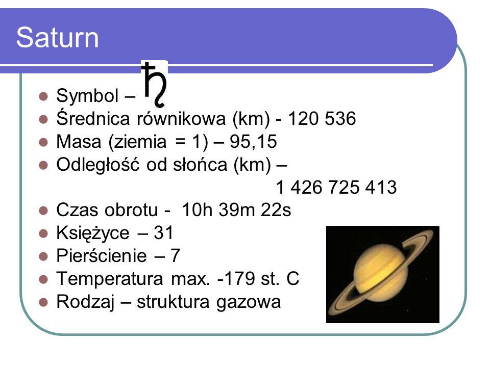Saturn Symbol – Średnica równikowa (km) - 120 536