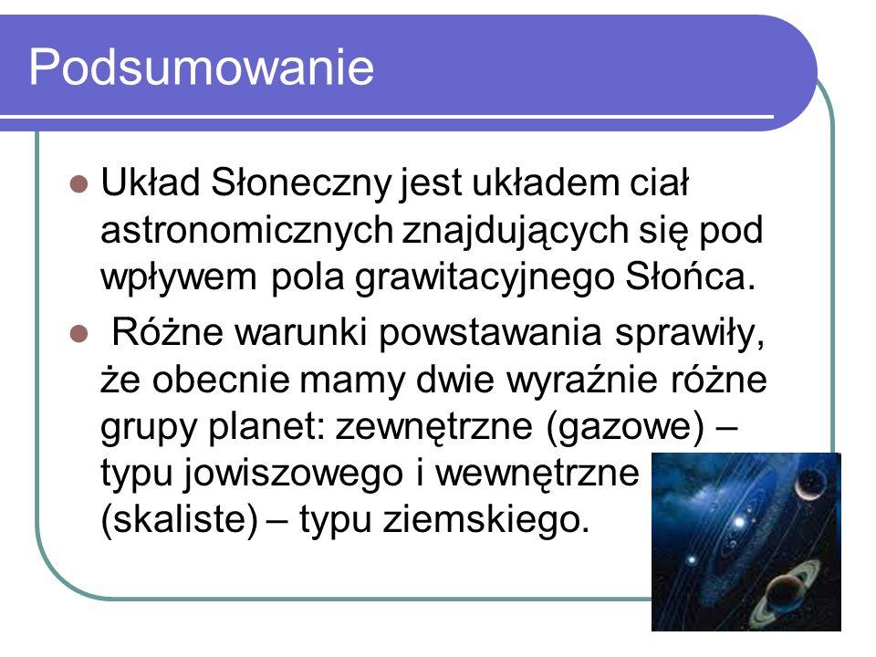 Podsumowanie Układ Słoneczny jest układem ciał astronomicznych znajdujących się pod wpływem pola grawitacyjnego Słońca.