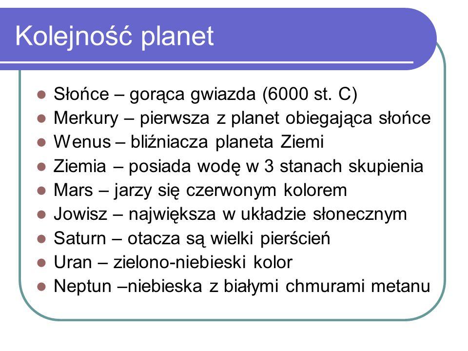 Kolejność planet Słońce – gorąca gwiazda (6000 st. C)