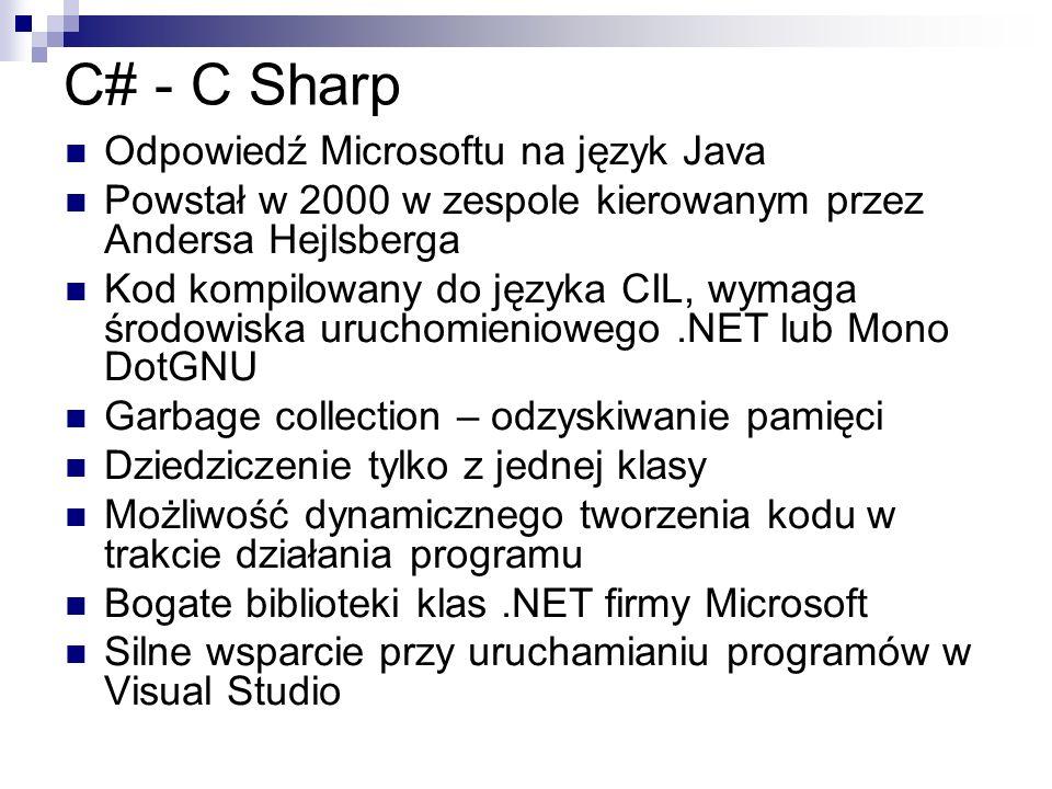 C# - C Sharp Odpowiedź Microsoftu na język Java