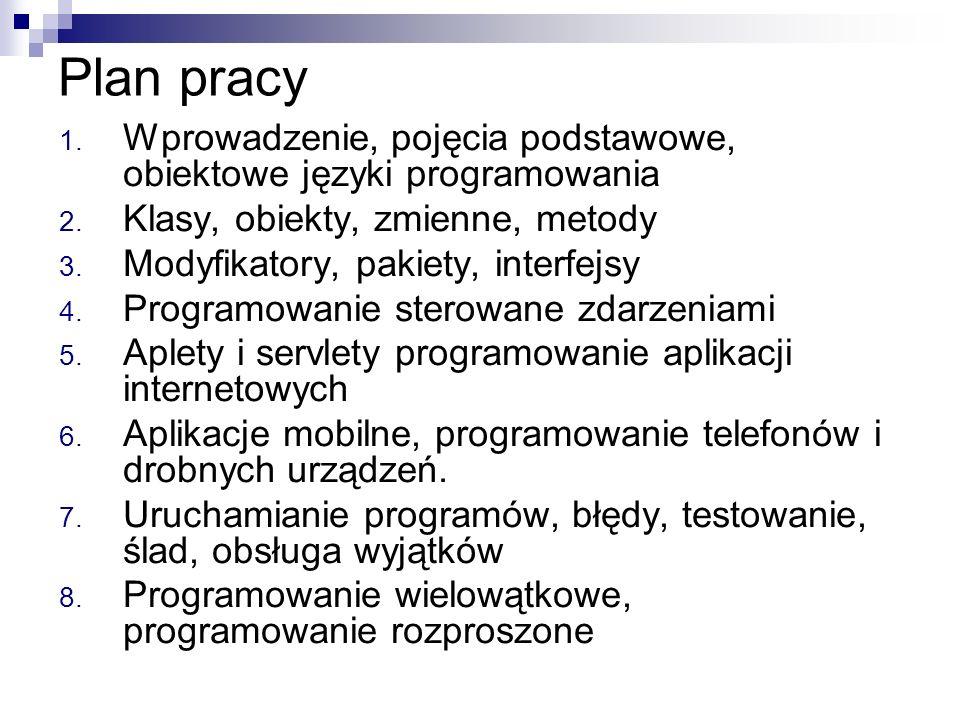 Plan pracy Wprowadzenie, pojęcia podstawowe, obiektowe języki programowania. Klasy, obiekty, zmienne, metody.
