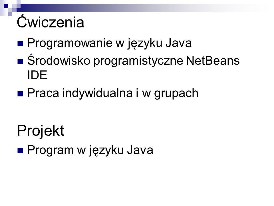 Ćwiczenia Projekt Programowanie w języku Java