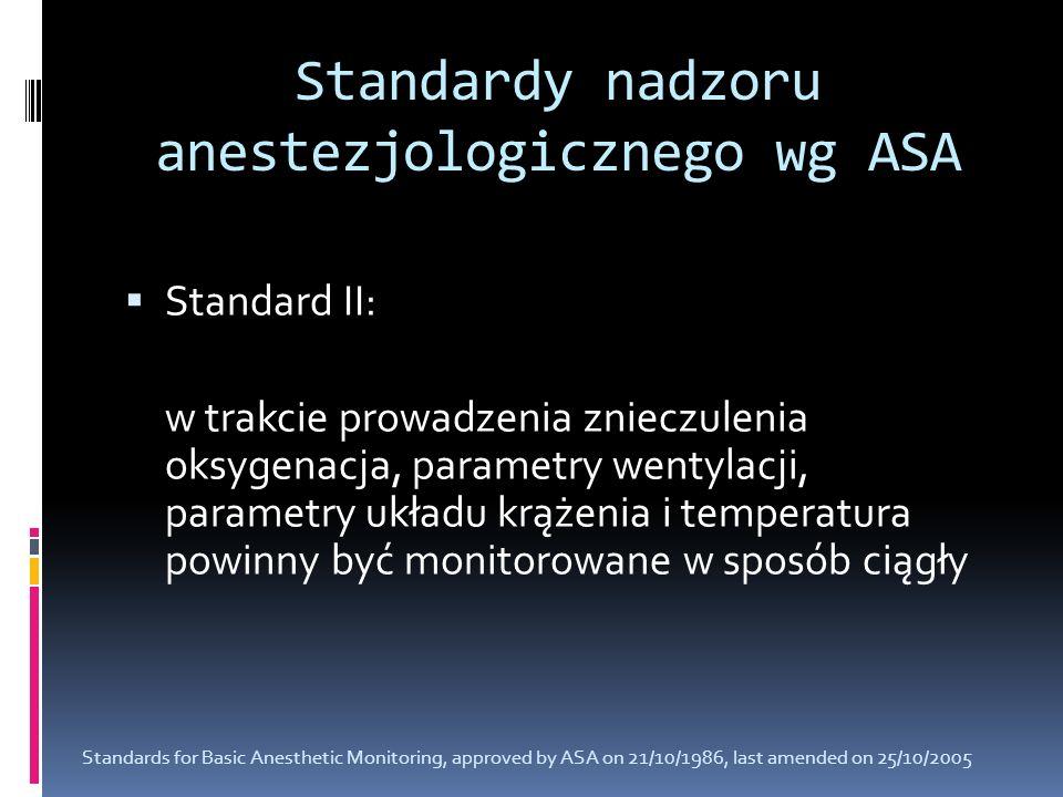 Standardy nadzoru anestezjologicznego wg ASA