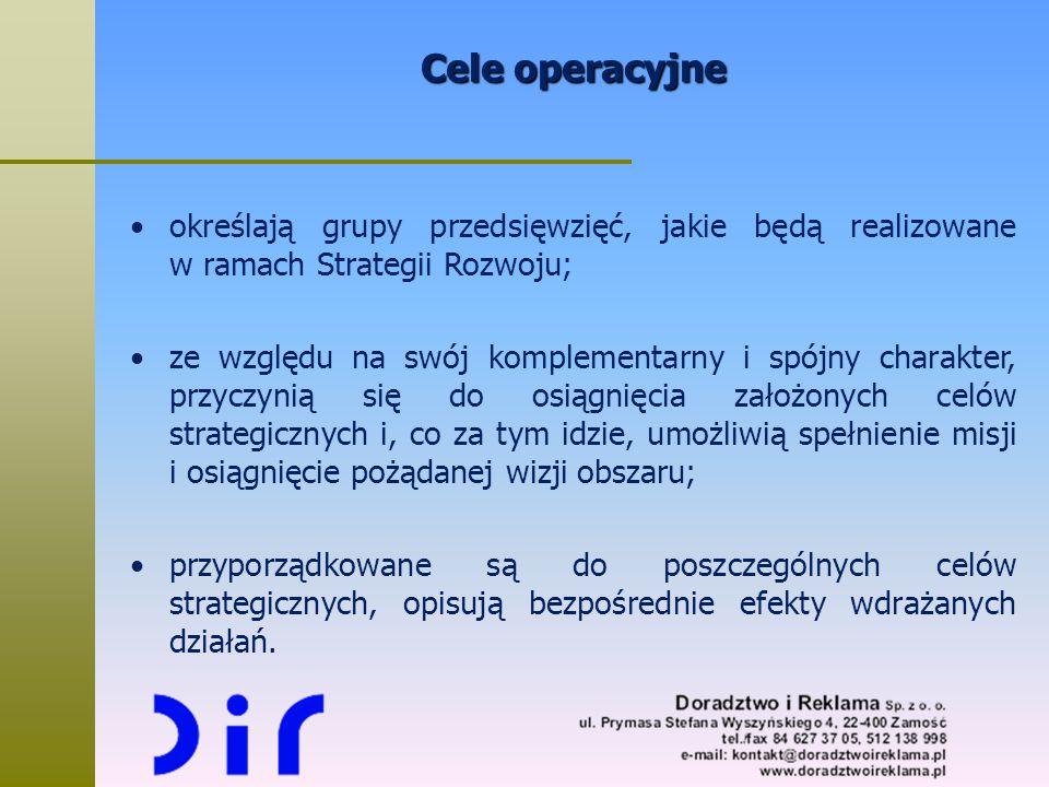 Cele operacyjne określają grupy przedsięwzięć, jakie będą realizowane w ramach Strategii Rozwoju;