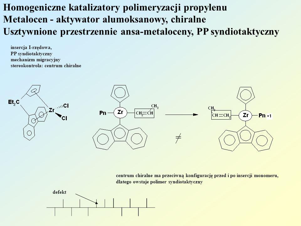 Homogeniczne katalizatory polimeryzacji propylenu Metalocen - aktywator alumoksanowy, chiralne Usztywnione przestrzennie ansa-metaloceny, PP syndiotaktyczny