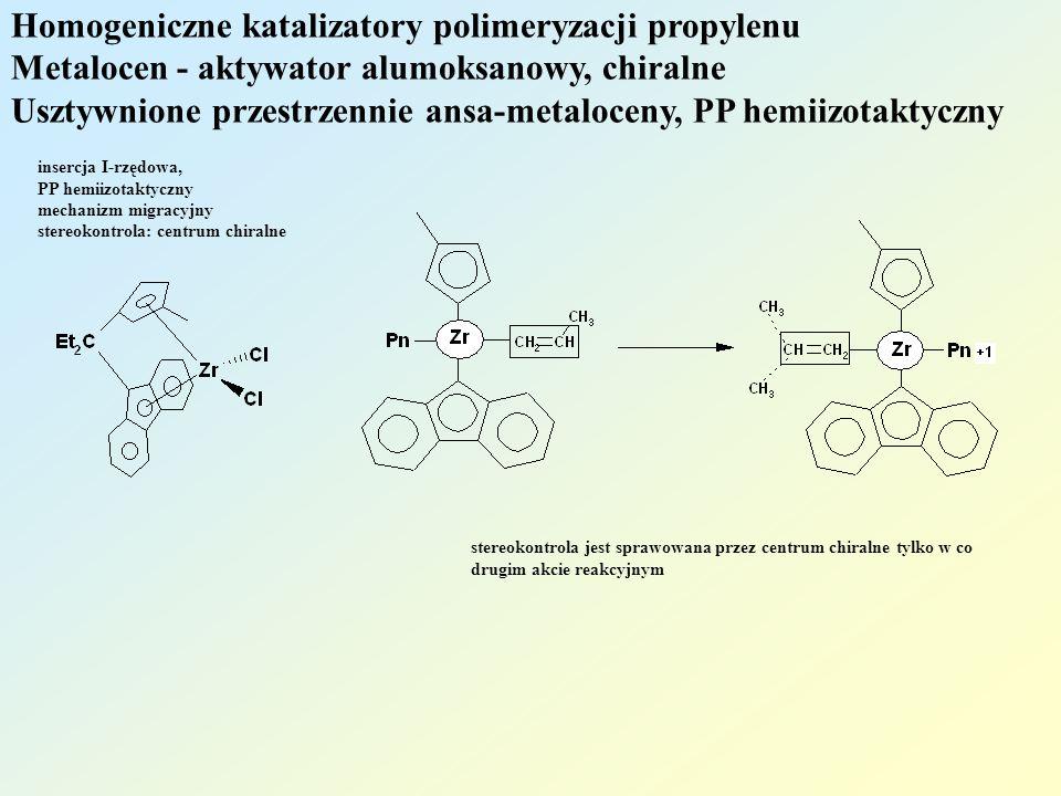 Homogeniczne katalizatory polimeryzacji propylenu Metalocen - aktywator alumoksanowy, chiralne Usztywnione przestrzennie ansa-metaloceny, PP hemiizotaktyczny