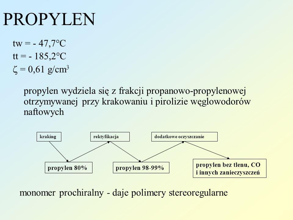 PROPYLEN tw = - 47,7°C tt = - 185,2°C  = 0,61 g/cm3