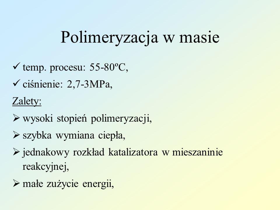 Polimeryzacja w masie temp. procesu: 55-80ºC, ciśnienie: 2,7-3MPa,