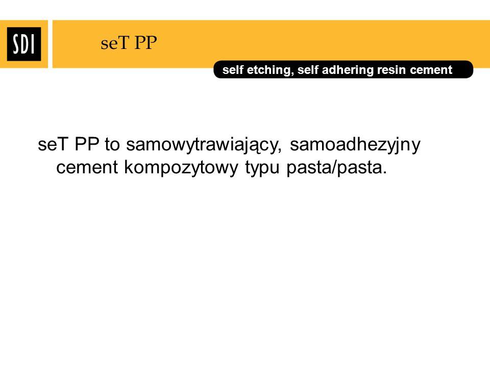 seT PP seT PP to samowytrawiający, samoadhezyjny cement kompozytowy typu pasta/pasta.