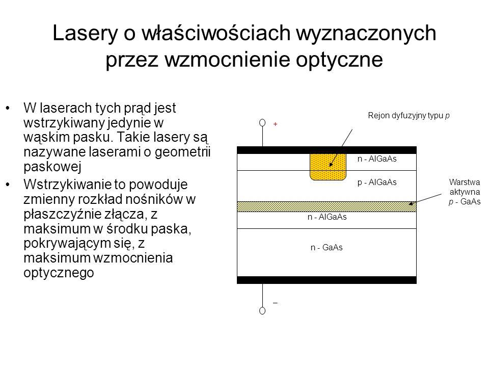 Lasery o właściwościach wyznaczonych przez wzmocnienie optyczne
