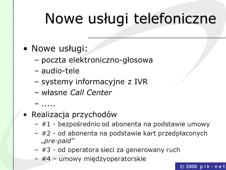 Nowe usługi telefoniczne