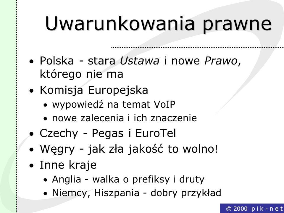 Uwarunkowania prawne Polska - stara Ustawa i nowe Prawo, którego nie ma. Komisja Europejska. wypowiedź na temat VoIP.