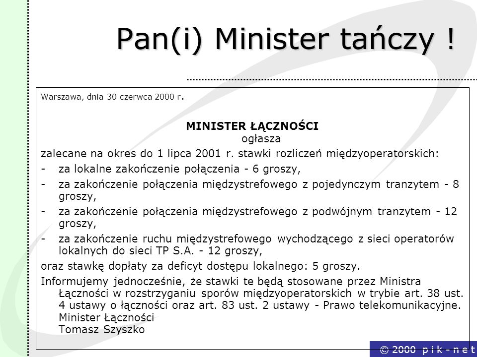 Pan(i) Minister tańczy !