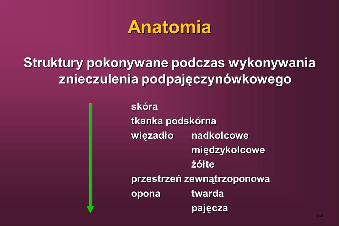 AnatomiaStruktury pokonywane podczas wykonywania znieczulenia podpajęczynówkowego. skóra. tkanka podskórna.