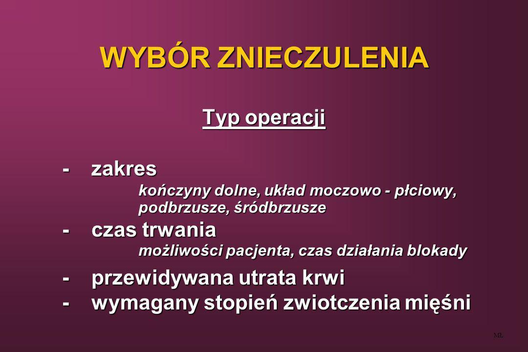 WYBÓR ZNIECZULENIA Typ operacji - zakres