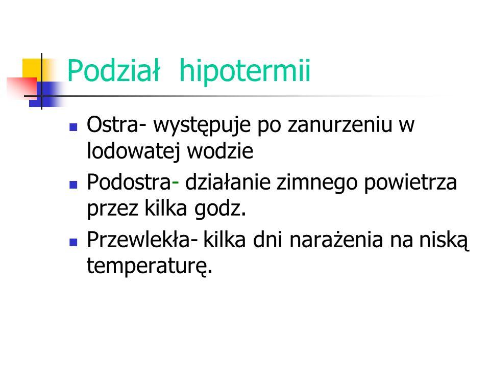 Podział hipotermii Ostra- występuje po zanurzeniu w lodowatej wodzie