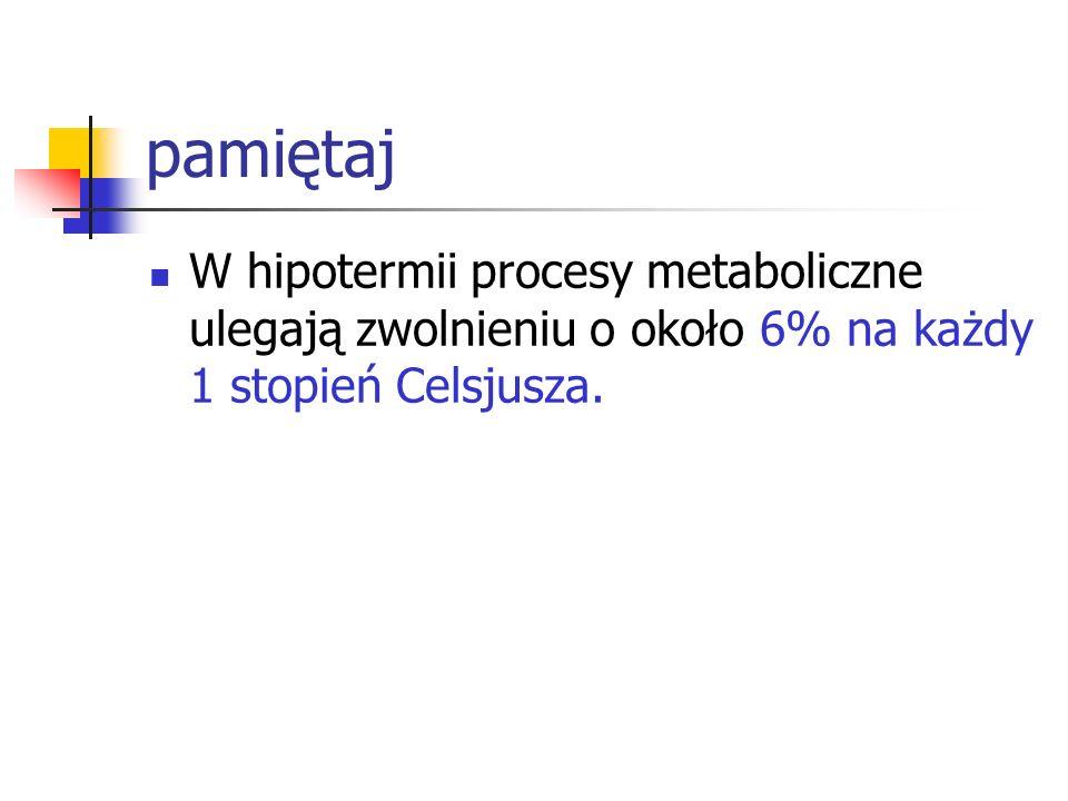 pamiętajW hipotermii procesy metaboliczne ulegają zwolnieniu o około 6% na każdy 1 stopień Celsjusza.